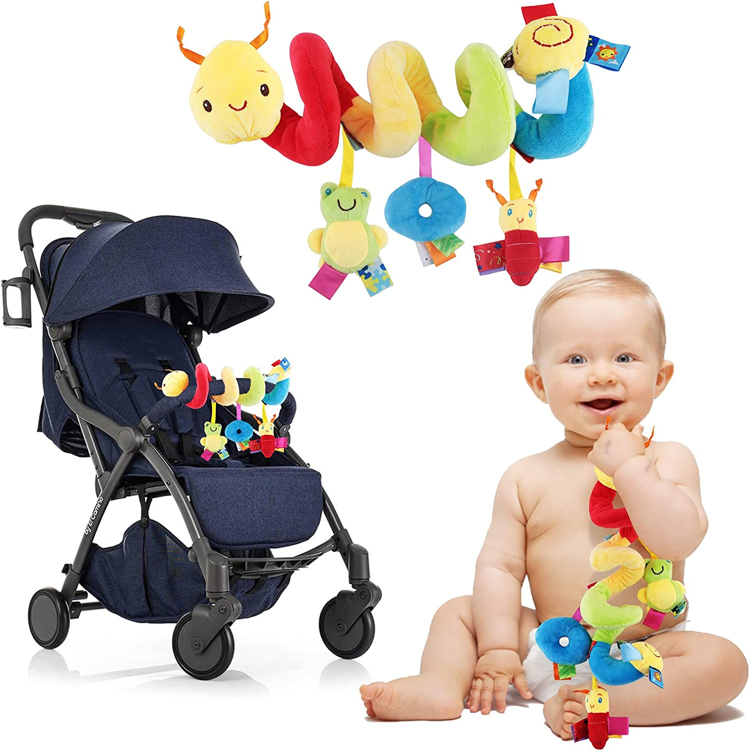 Baby Crib Hanging Rattles Toys Infant Baby Worm Crib Bed Around Rattle Bell Cartoon Insect Spiral Hanging Toy with Ringing Bell for Infants Bed Stroller Car Seat Bar for Babies Boys and Girls