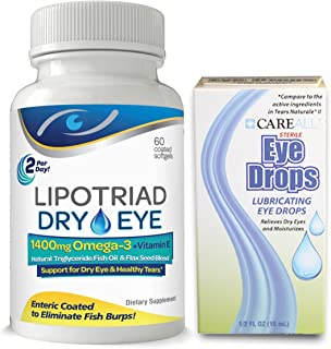 Complete Dry Eye Relief Kit - 1400mg Omega 3 Dry Eye Supplement Plus Dry Eye Relief Drops - Helps Dry Itchy Eyes - 60 Softgels + Eye Drops