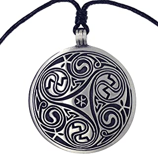 Jewelry Big Ringerike Disk Medallion Triskele Triskelion Morgana Pewter Pendant necklace w Black Adjustable Cord