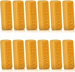 Perkisboby 12pcs Beeswax Bars, 1oz Yellow Bees Wax - Cosmetic Grade, DIY Projects, Candle Making, Furniture Polish