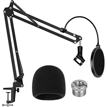 InnoGear Heavy Duty Microphone Stand with Mic Microphone Windscreen and Dual Layered Mic Pop Filter Suspension Boom Scissor Arm Stands for Blue Yeti,Blue Spark and Other Mic