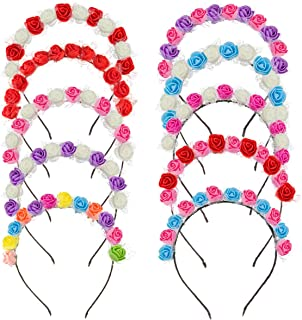 Madholly 10pcs Gay Pride Rose Flower Headband Accessories- 10pcs Floral Flower Crown Stretch Headpiece Costume Floral Garl...