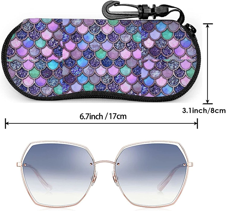 Mermaid Glitter Scales Sunglasses Case Eyeglasses Soft Case With Hook Ultra Light Portable Neoprene Zipper Pouch Box for School Travel