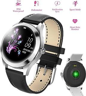 Cacoffay Dama Pulsera Impermeable Reloj Inteligente Reloj de presión Arterial con monitorización de Ritmo cardíaco Gimnasio GPS Bluetooth Reloj Deportivo Reloj Monitor de sueño