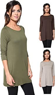 3 Pack Women's Loose Fit Long Elbow Sleeve Jersey Tunics