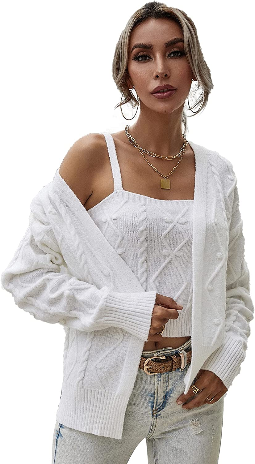 SheIn Women's Button Up Cable Knit Crop Cardigan Sweaters Pullover Coat with Cami Set