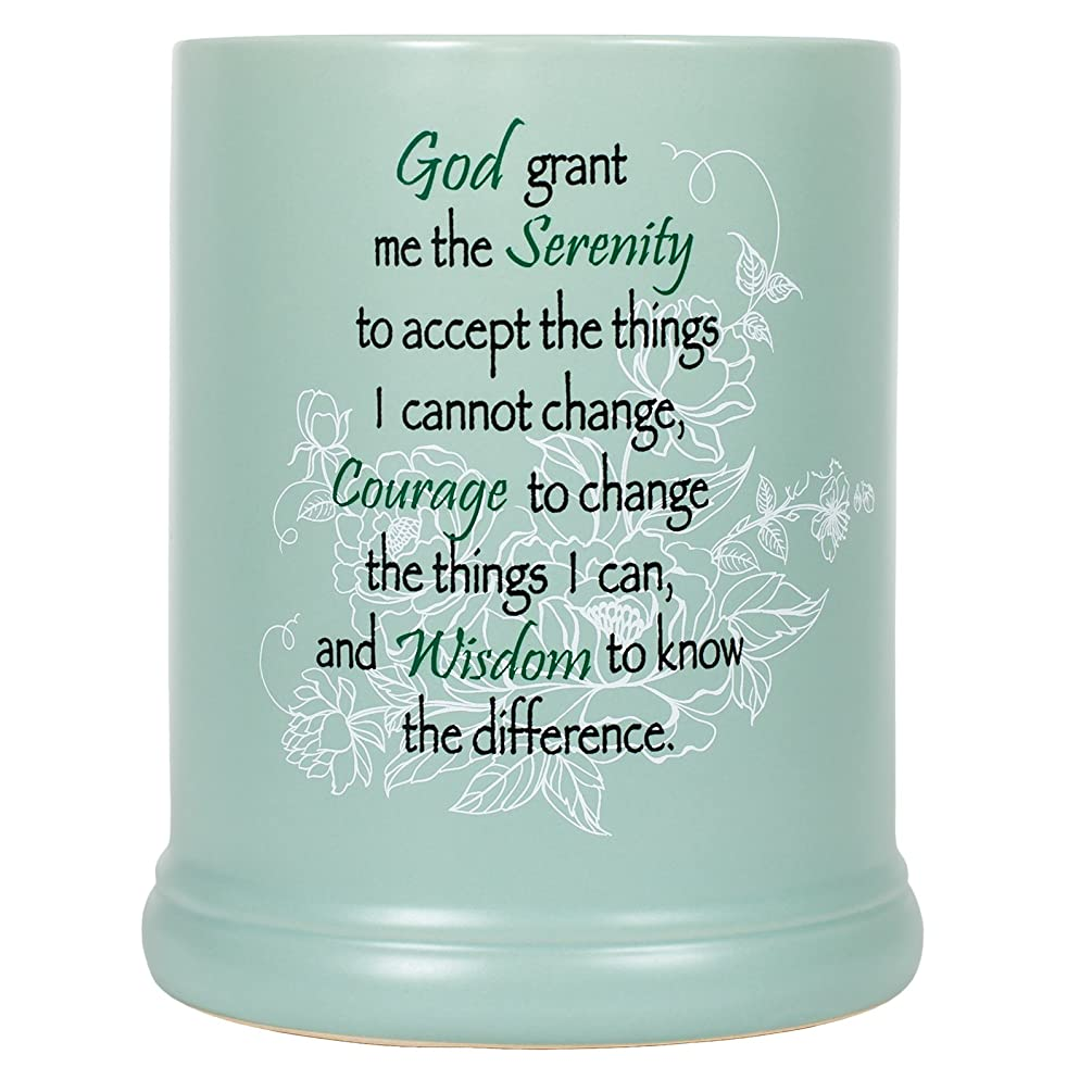 Serenity Prayer Teal White Floral Design Stoneware Electric Large Jar Candle Warmer