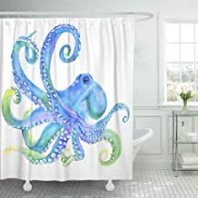 Emvency Shower Curtain Set with Hooks Polyester Fabric Blue Life Pink Watercolor Octopus Sea Poulpe Devilfish Tentacles Colorful Waterproof Adjustable 72 x 72 Inches for Bathroom