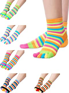 6 Pairs Five Toe Socks Toe Separated Cotton Socks Colorful Stripe Socks for Women Men
