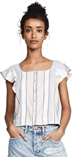 Three Dots Women's Stripe Button Up Flutter SLV Top
