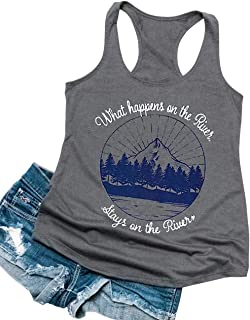 What Happens on The River Stays on The River Funny Letter Printed Women's Tank Casual Sleeveless Bottom Vest Tops Tees