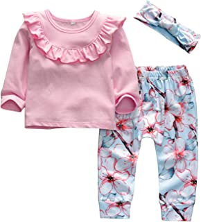 3PCS Baby Girl Ruffle Tops Floral Pants Headband Outfits Set