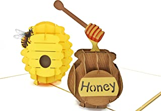 PopLife Beehive and Honeypot 3D Pop Up Card for your HONEY! - Mothers Day Pop Up, Fathers Day, Anniversary Card, Happy Birthday, Apology, Gift for Her - Fold Flat - for Husband, for Wife, for Daughter