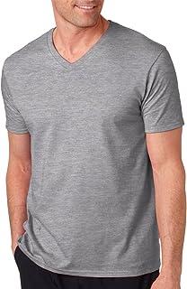 Gildan Men's SoftStyle V-Neck T-Shirt, SPORT GREY, X-Large