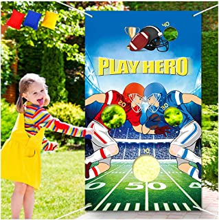 Football Toss Games with 3 Been Bag Indoor Outdoor Been Bag Toss Games Party Games for Kids and Adults in Football Theme Party , Sport Theme party, Baby Shower, Kids' Birthday Party, Classroom Game, Family Games Party Supplies Decor