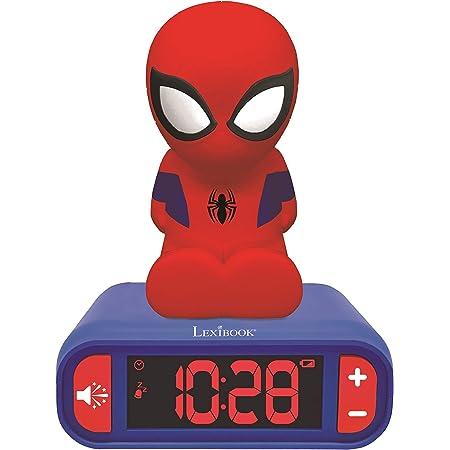 Lexibook- Veilleuse Spider-Man pour Enfant Spiderman Lumineux Effets sonores Marvel Horloge Réveil Garçons Superhéros Snooze Couleur Bleue, RL800SP