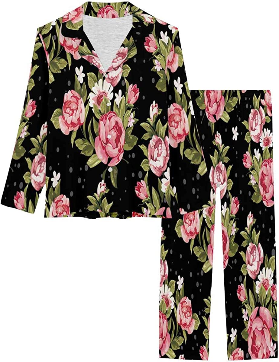 InterestPrint Women's Pajamas Set Long Max low-pricing 51% OFF Pants with XS Sleeve