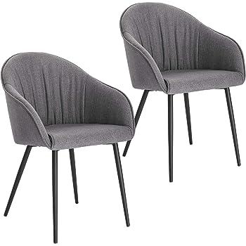 Lestarain 2er Set Esszimmerstühle, Küchenstuhl Polsterstuhl Sessel Aus Leinen Mit Armlehne Metallbeine, Stuhl Für Esszimmer Wohnzimmer, Grau