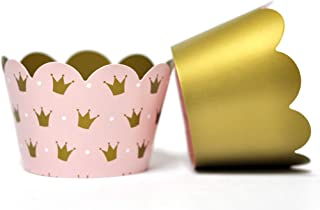 Princess Cupcake Wrappers for Girls Birthday Parties, Baby Showers, Bridal Showers, or Regal Weddings. Set of 24 Reversible Millennia Pink and Gold Crown patterned Cup Cake Holder Wraps. Pale Pink