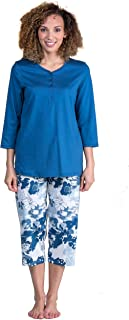 Calida 3/4 Sleeve 100% Cotton Knit Capri Pajamas in French Blue