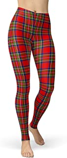 Women's Checkered Plaid Printed Leggings Christmas Stretchy Brushed Buttery Soft Tights