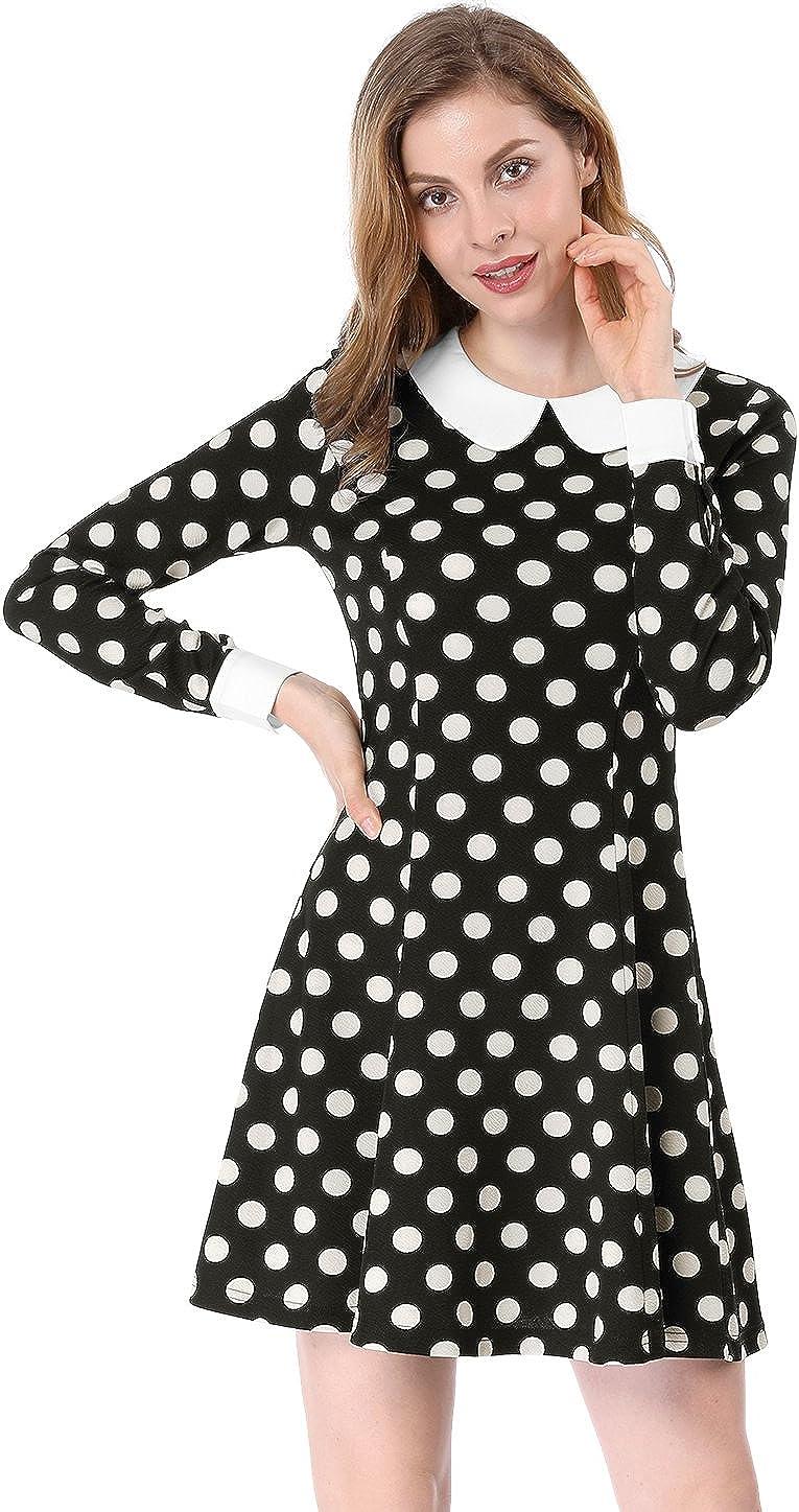 Allegra K Women's Peter Pan Collar Contrast Polka Dots Heart A-Line Short Dress