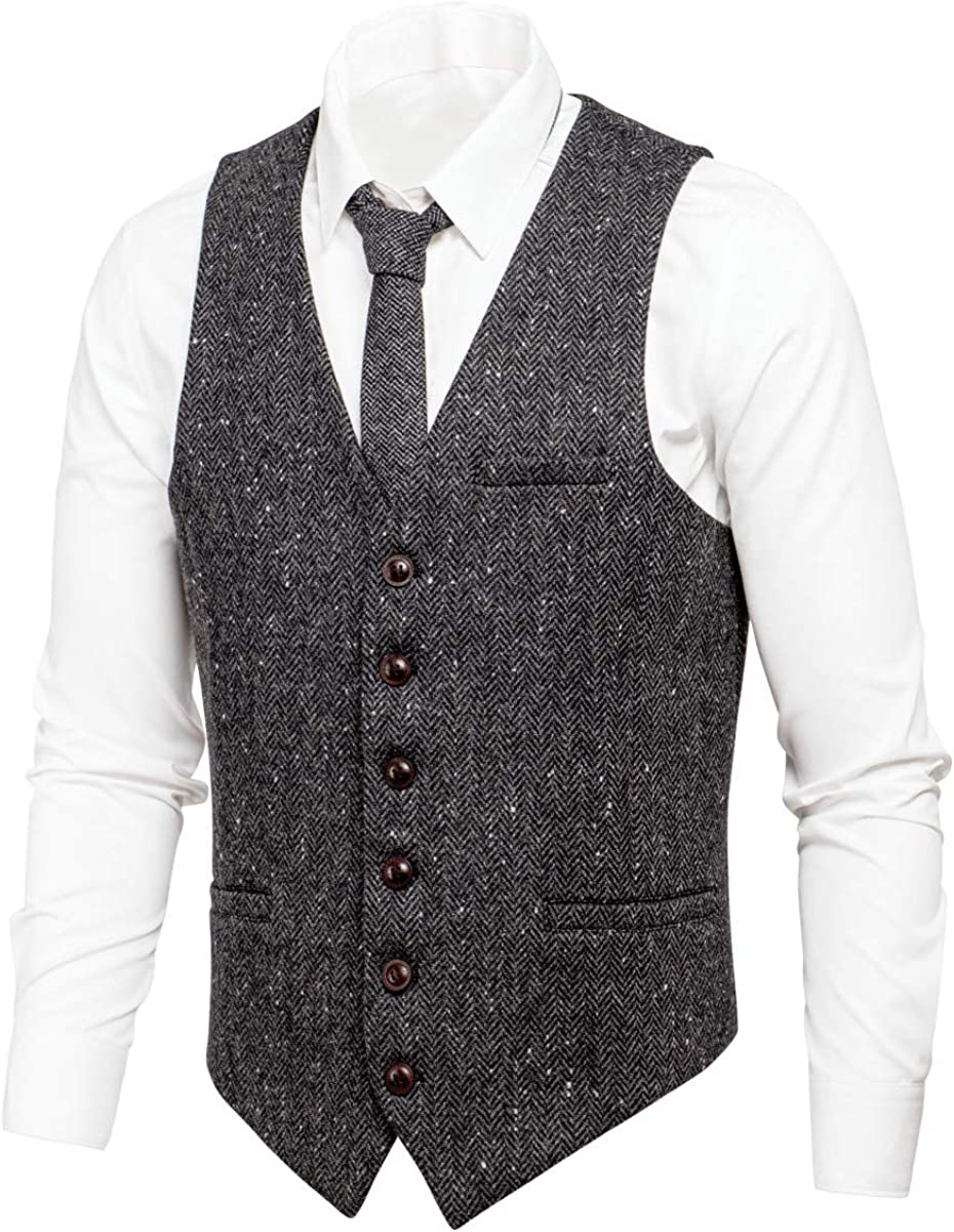 VOBOOM Men's Slim Fit Herringbone 超激安 Tweed Premium Vest Wool Suits 公式通販