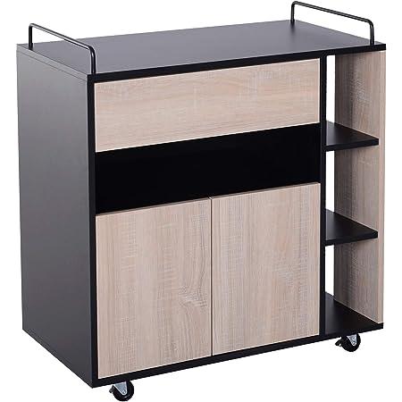 Chariot de service desserte de cuisine à roulettes multi-rangements placard double portes + 3 étagères + niche + tiroir panneaux particules noir chêne