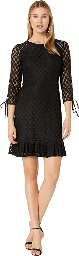 Lace 3/4 Sleeve Dress with Binding and Faggoting Details