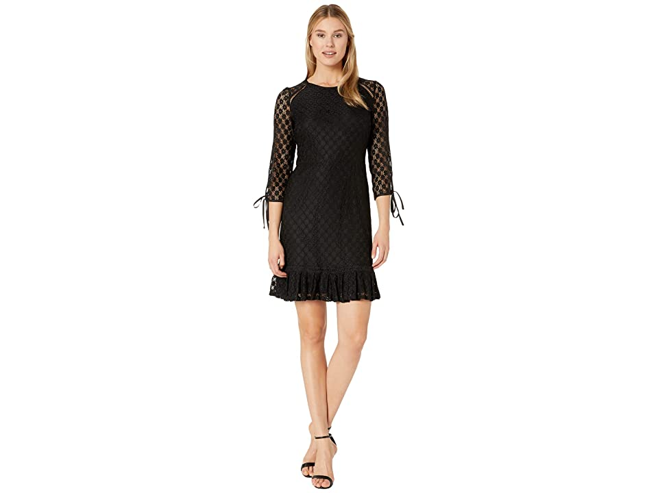 Nine West Lace 3/4 Sleeve Dress with Binding and Faggoting Details (Black) Women