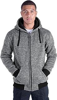 Leehanton Men's Zip Up Hoodie Sherpa-Lined Heavyweight Winter Sweatshirt Jackets