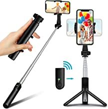 Bcway Selfie Stick Tripod Bluetooth, Mini Compact Phone Tripod, Lightweight Travel Tripod with Remote, Compatible with iPh...