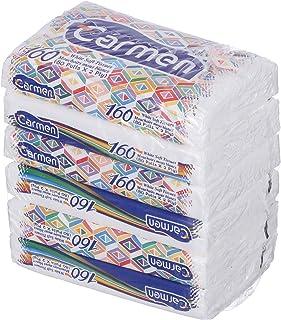 Carmen Smart Pack Napkins, Pack of 6, 160 Napkins - White