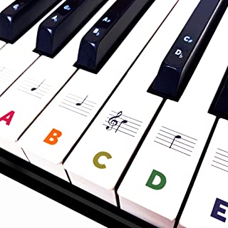 BASTON Piano Keyboard Stickers for Beginners 88/76/61/54/49/