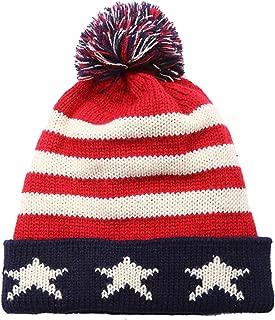 Legou Women's Knit Union Flag Pom Beanie Hat