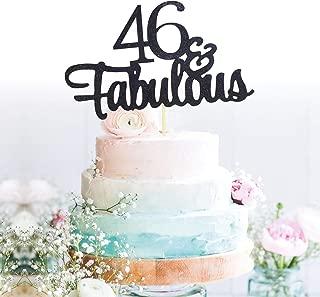 GrantParty Glitter Black 46&Fabulous Anniversary Cake Topper We Still Do 46th Vow Renewal Wedding Anniversary Cake Topper(46 Black)