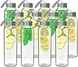 Chef's Star Clear Glass Water Bottle 18 oz for Fresh Juice & Beverages Storage, Stainless Steel Leak proof Caps with Carrying Loop, Individual Protection Sleeve Included 12 pack