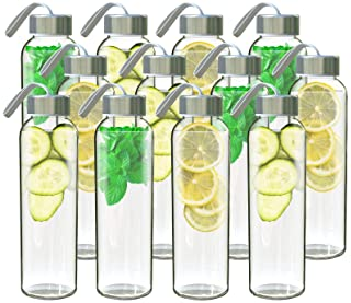 Chef's Star Glass Water Bottle 12 Pack 18oz Bottles For beverages and Juicer Use Stainless Steel leak proof Caps With...