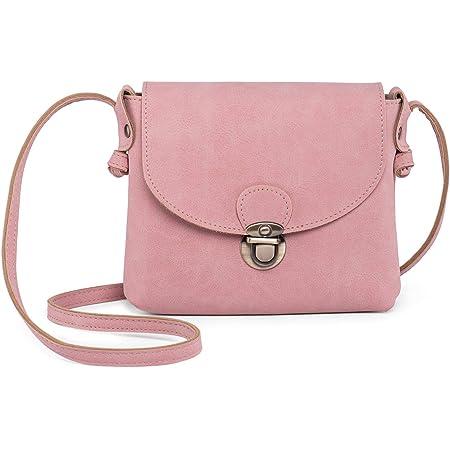 Kleine Umhängetasche Damen mit Sicher Schloss, LaRechor Vegan Leder Handtasche Mini Mädchen Teenager Frauen Tasche zum Umhängen (Pink)