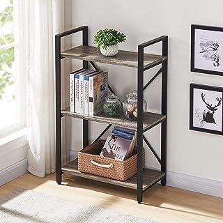 Bon Augure - Estantería rústica pequeña de 2 pisos, marco de metal, estantería industrial abierta, unidad de almacenamiento independiente 3 shelf