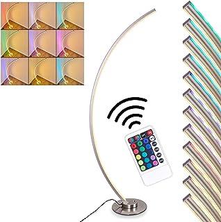 Lampadaire Scar RGB en métal, nickel mat, luminaire arqué LED pour salon, bureau, chambre - Variation d'intensité et de co...