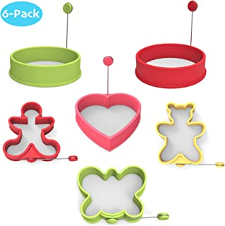 MealAids: Silicone Egg Molds - Premium Non-Stick Shapes for Fried Eggs & Pancakes - Fun & Heat Resistant Forms - For Kids and Adults - Pack of 6