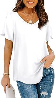 Womens Tshirts Short Sleeve V Neck Loose Fit Summer...