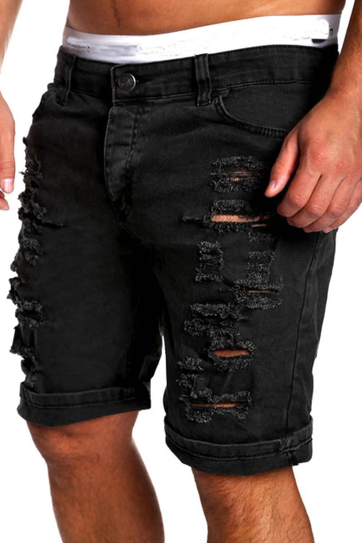 WoJogom Mens Denim Chino Fashion Shorts Washed Denim Boy Skinny Runway Short Men Jeans Shorts Ripped Jeans Plus Size