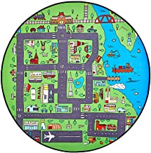Kids Cartoon Round Area Rugs, Children Carpet Educational City Road Play Mat, Baby Crawling Blanket Cars Toys, for Boy Girl Playroom Nursery Bedroom Living Room Classroom (3'3'' Round, City Port)