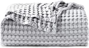 Bedsure 50% Cotton 50% Bamboo Blanket, Waffle Weave Blanket for Couch/Bed, Soft Lightweight Blanket for All Season(Full/Queen Size, 90