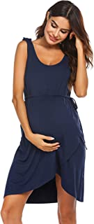 Ekouaer Nursing Dress 3 in 1 Maternity/Delivery/Labor Hospital Nightgown Breastfeeding Nightdress with Button