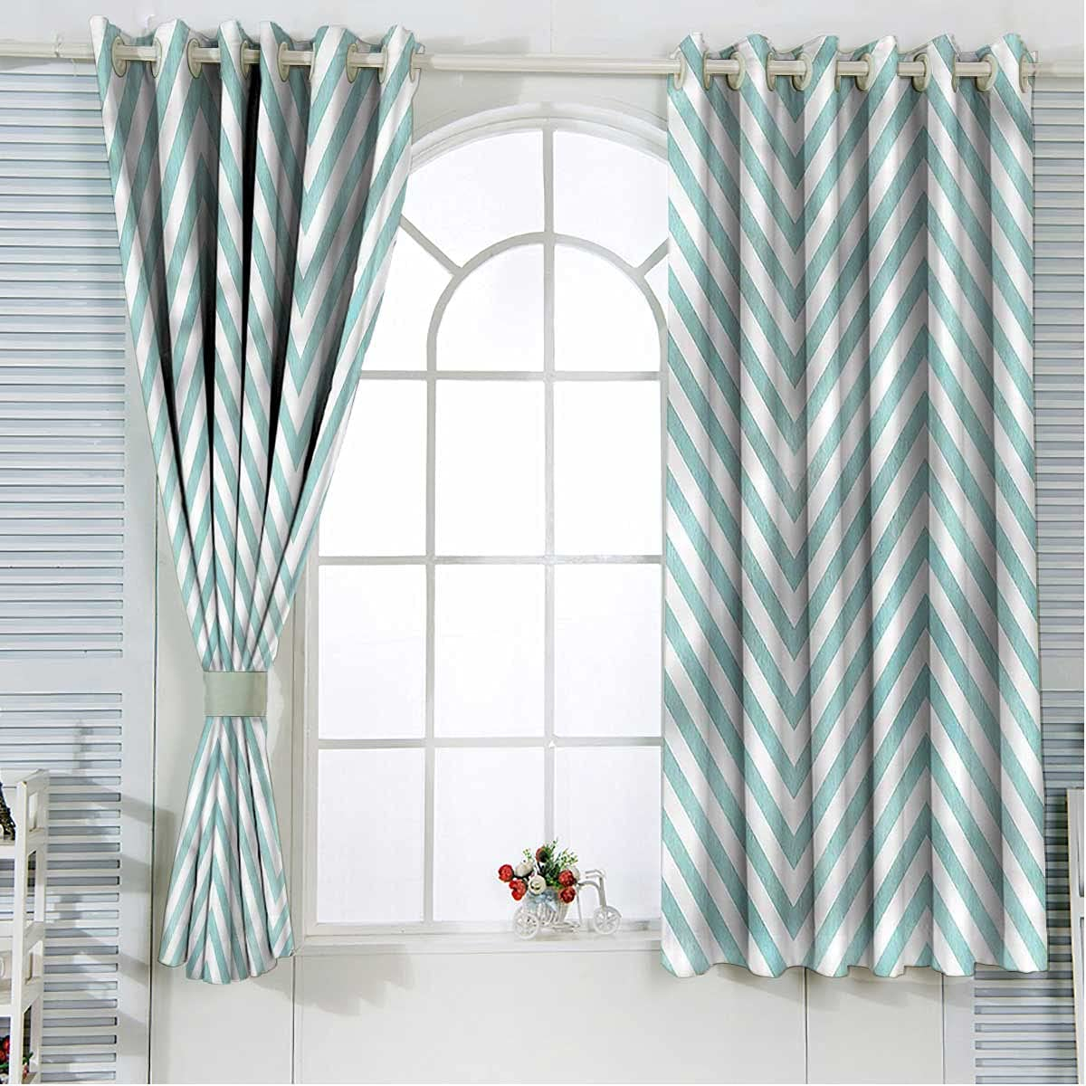 Chevron Blackout Curtains with Tiebacks Chicago Mall Length 96 Inch Atlanta Mall Line Bent