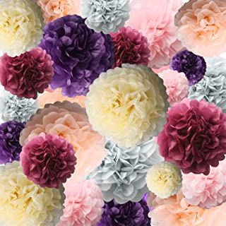 Ponwec Tissue Paper Pom Poms Kit Paper Chrysanth Flowers Assorted Rainbow Colors Flower Party Decor DIY Crafting Tissue Flowers for Wedding Backdrop Halloween Christmas Outdoor Decoration 24pcs