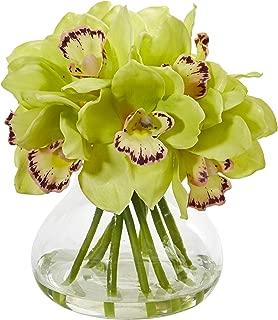 Nearly Natural Cymbidium Orchid Artificial Glass Vase Silk Arrangements, Green